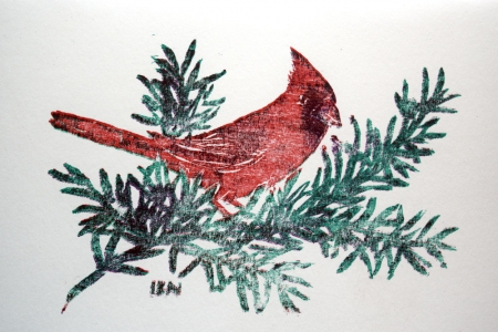 cardinal christmas card handprinted