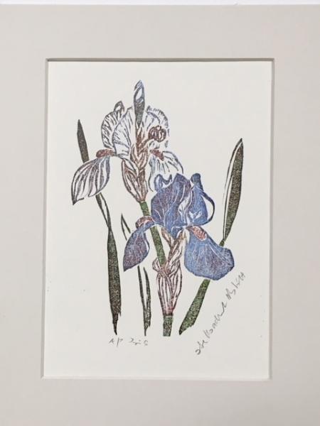 Irises woodcut - small print