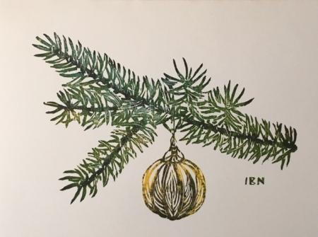 Christmas ornament on bough card