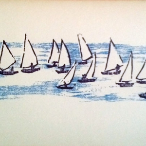 hand printed notecard sailboats