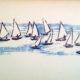 hand printed notecard sailboats