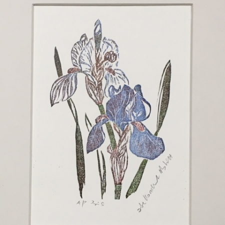 Irises woodcut - small print