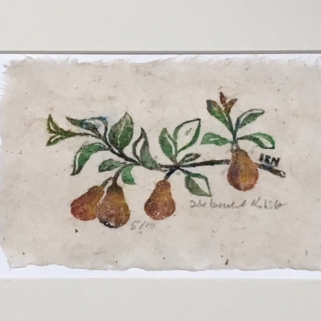 Pears woodcut - small print