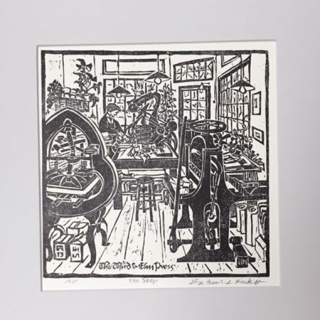 The Shop woodcut - small print