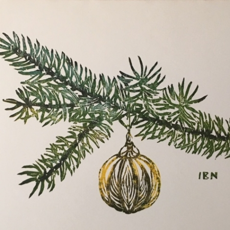 Christmas ornament on bough card