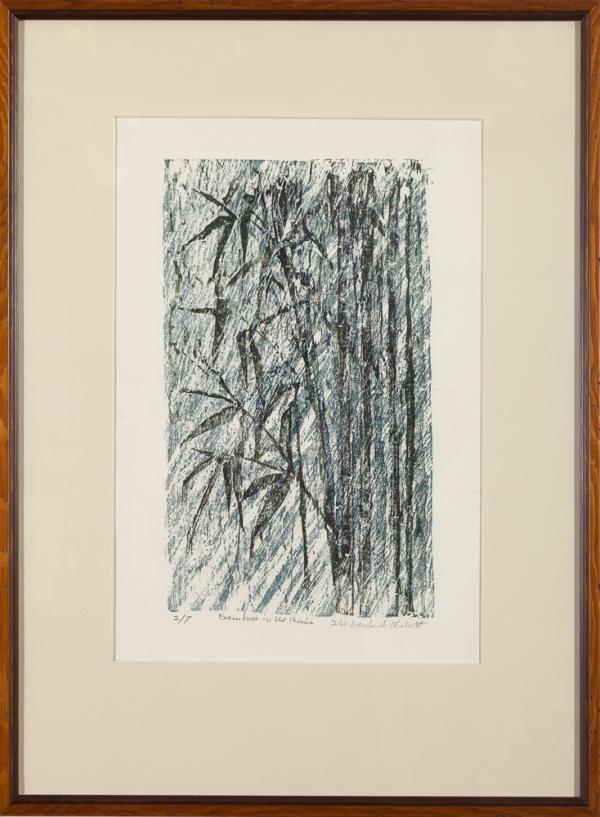 """""""Bamboo in the Rain"""" woodcut print by Ilse Buchert Nesbitt, framed"""