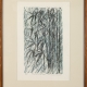"""Bamboo in the Rain"" woodcut print by Ilse Buchert Nesbitt, framed"