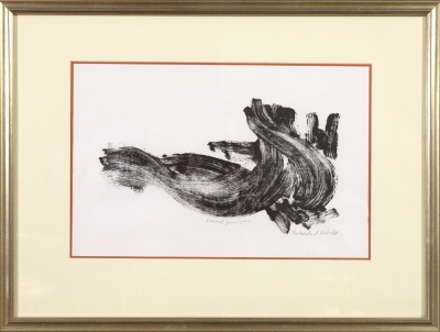 Desert Juniper, monoprint by Ilse Buchert Nesbitt, framed