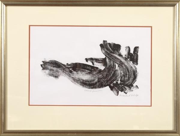 Desert Juniper, monoprint by Ilse Buchert Nesbitt, framed