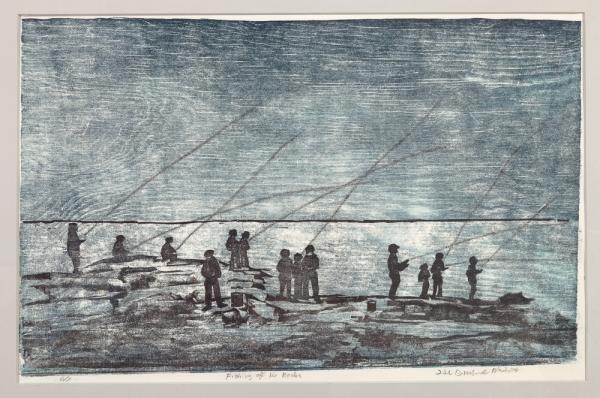 """unframed print """"Fishing off the Rocks"""" by Ilse Buchert Nesbitt"""