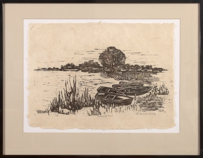 "framed woodcut print ""Lakeside Rest"" by Ilse Buchert Nesbitt"