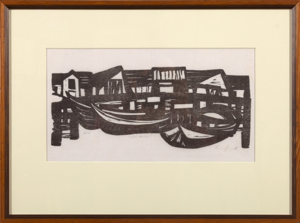 """Lofot"" framed woodcut print by Ilse Buchert Nesbitt"
