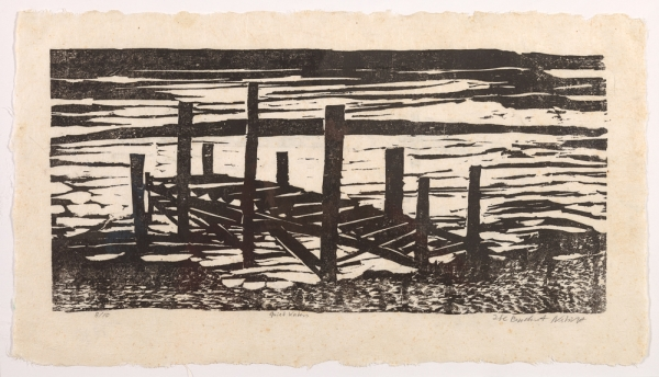 """woodcut print """"Quiet Waters"""" by Ilse Buchert Nesbitt"""