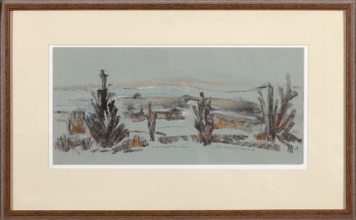 "Framed monoprint ""Sakonnet Marshes"" by Ilse Buchert Nesbitt"