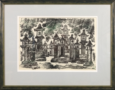 "Framed print ""Temple Lanterns"" by Ilse Buchert Nesbitt"