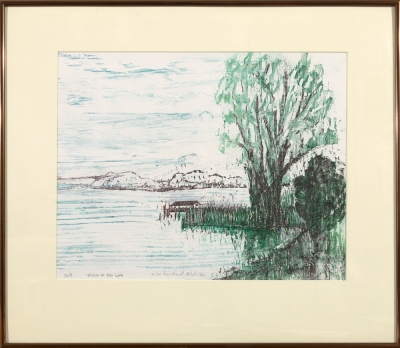 "Framed print ""Willow on the Lake"" by Ilse Buchert Nesbitt"
