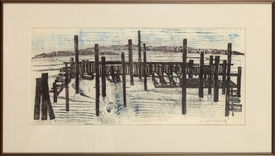 "Framed print ""Winter in the Yacht Harbor"" by Ilse Buchert Nesbitt"