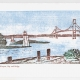 Bay and Bridge Notecard - woodcut by Ilse Buchert Nesbitt