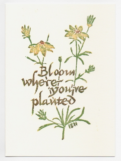 Bloom Where You're Planted notecard - woodcut by Ilse Buchert Nesbitt