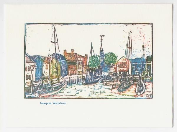 Bowens Wharf Notecard - woodcut by Ilse Buchert Nesbitt