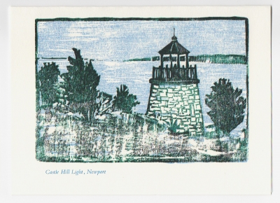 Castle Hill Light Notecard - woodcut by Ilse Buchert Nesbitt