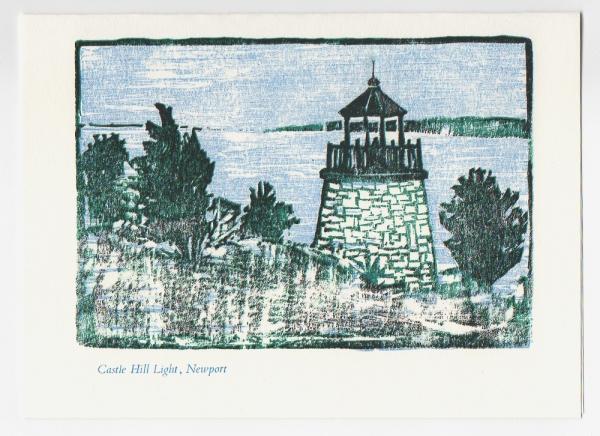Castle Hill Light Notecard - woodcut by Ilse Buchert Nesbitt