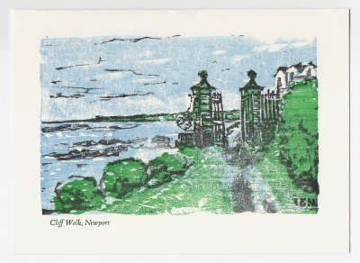 Cliff Walk Notecard - woodcut by Ilse Buchert Nesbitt