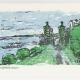 Cliff Walk Notecard - woodcut by Ilse Buchert Nesbitt