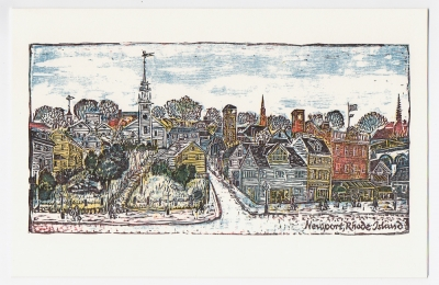 Downtown Newport Notecard - woodcut by Ilse Buchert Nesbitt