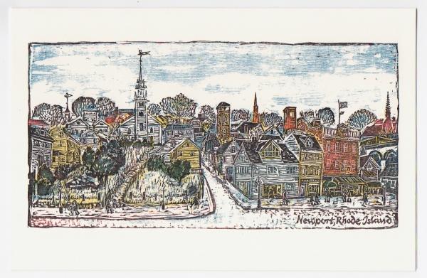 Downtown Newport Notecard - woodcut by Ilse Buchert Nesbitt