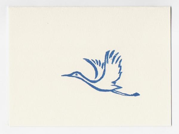Egret mini card, woodcut by Ilse Buchert Nesbitt