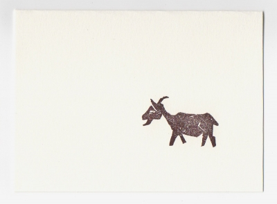 goat mini notecard- woodcut by Ilse Buchert Nesbitt