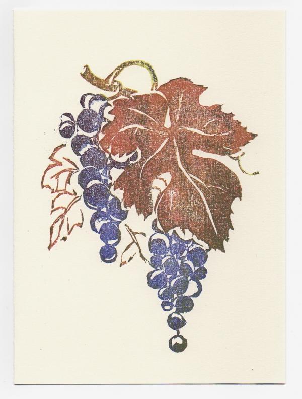 grape notecard woodcut by Ilse Buchert Nesbitt