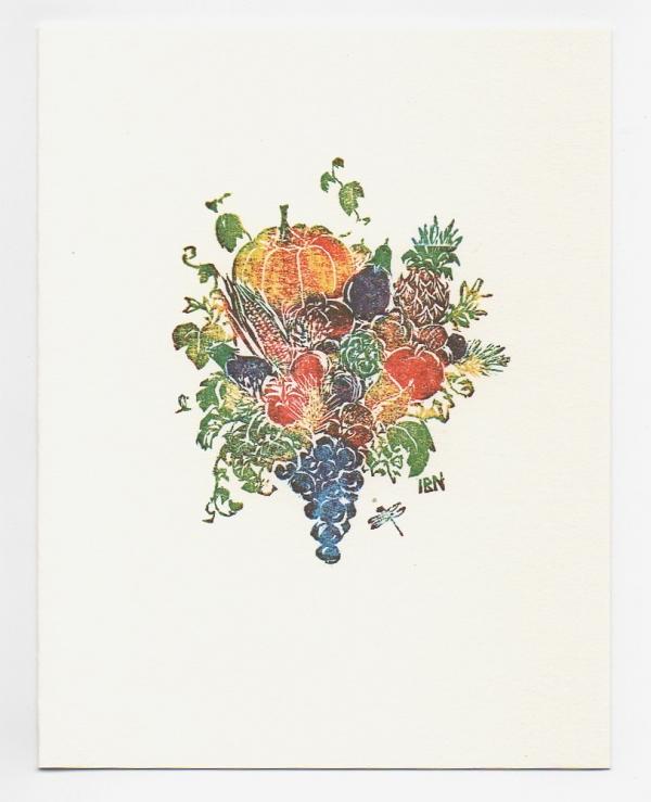 harvest notecard - woodcut by Ilse Buchert Nesbitt