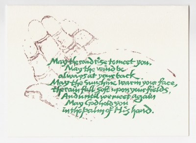 Irish Blessing notecard - woodcut by Ilse Buchert Nesbitt