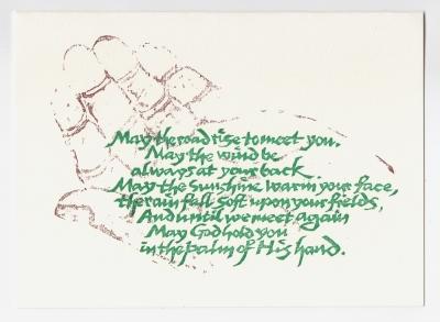 Irish Blessing notecard - woodcut by Ilse Buchert Nesbitt