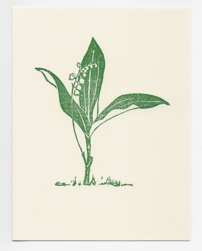 Lily of the Valley notecard - woodcut by Ilse Buchert Nesbitt