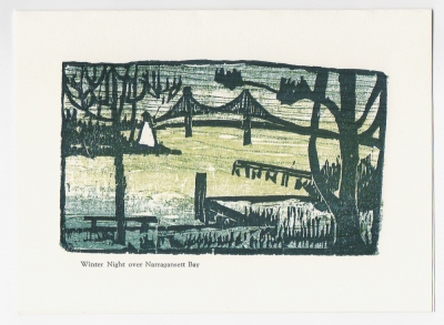Narragansett Bay & Bridge Notecard - woodcut by Ilse Buchert Nesbitt