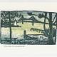 Narragansett Bay & Bridge Notecard - woodcut by Ilse Buchert Nesbitt