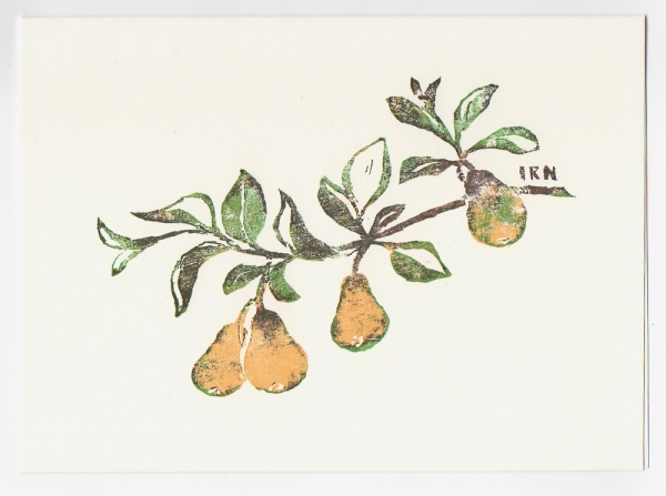 pear notecard - woodcut by Ilse Buchert Nesbitt