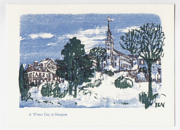 Queen Anne Square notecard - woodcut by Ilse Buchert Nesbitt
