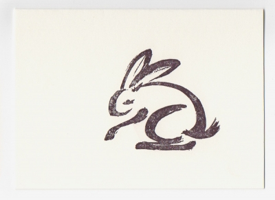 rabbit mini notecard - drawing by Ilse Buchert Nesbitt