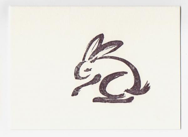 rabbit mini notecard - drawing by Ilse Buchert Nesbitt
