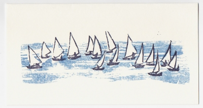 Sail Boats Notecard - Woodcut by Ilse Buchert Nesbitt