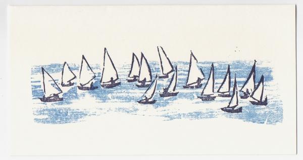 Sail Boats Notecard - Woodcut by Ilse Buchert Nesbitt