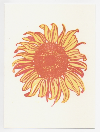 Sunflower notecard - woodcut by Ilse Buchert Nesbitt