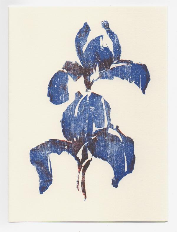 Two Iris notecard - woodcut by Ilse Buchert Nesbitt