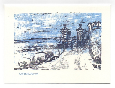Cliff Walk Greeting Card, woodcut by Ilse Buchert Nesbitt