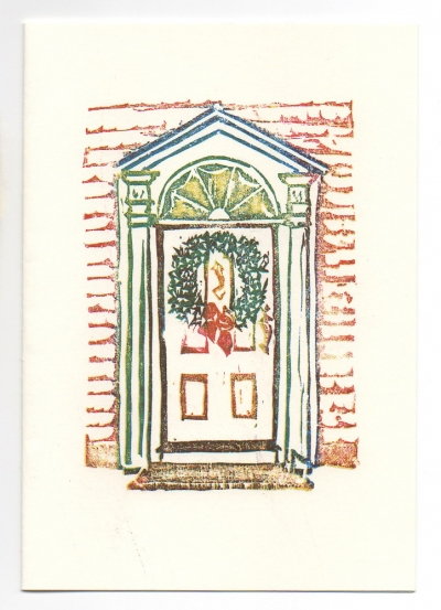 Door Greeting Card, woodcut by Ilse Buchert Nesbitt