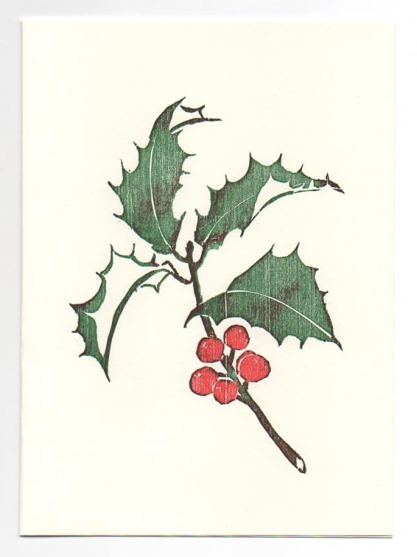 Holly greeting card, woodcut by Ilse Buchert Nesbitt